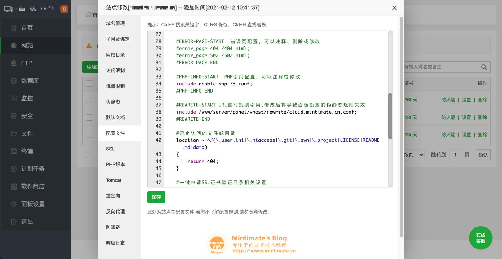宝塔内网站Nginx设置